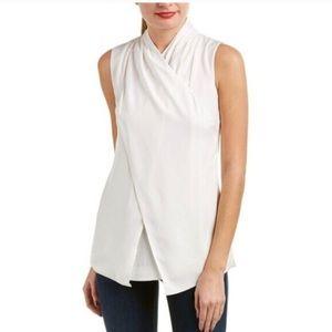 CAbi Wraparound White Sleeveless Blouse Size 8